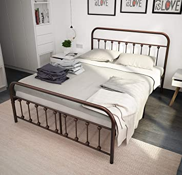 Amazon.com: Metal Bed Frame Queen The Simple-Style Iron-Art Double ...