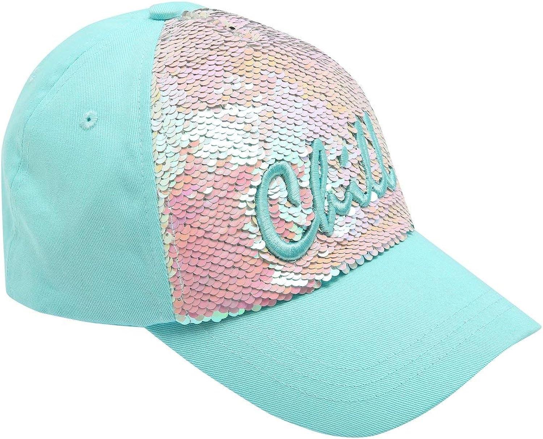 M/&Co Teen Girls Two Way Flip Sequin Chill Slogan Cap