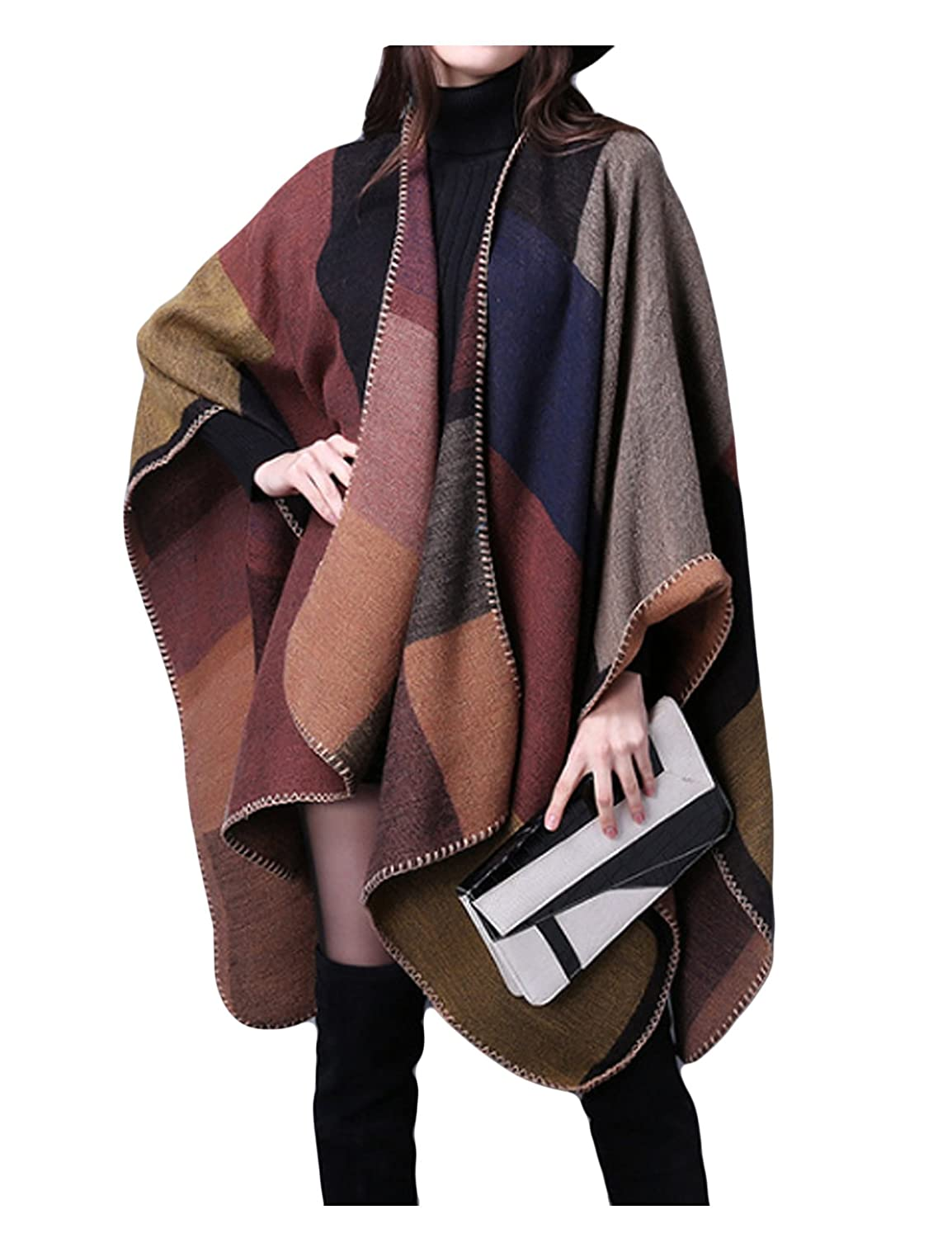 Bestgift Womens Oversized Open Cardigans Blanket Poncho Capes Khaki One Size BSGFWJ0272-3