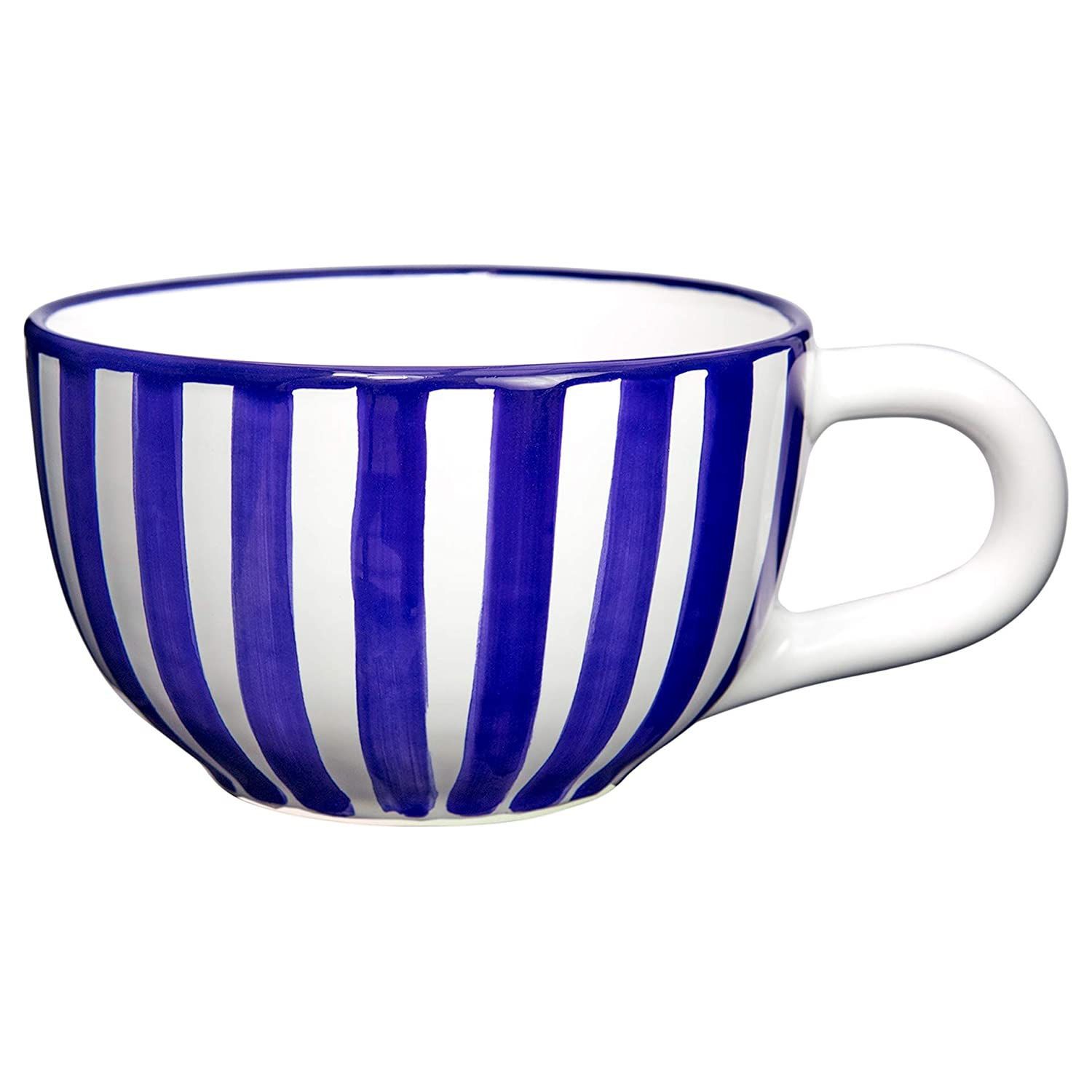City to Cottage Navy Blue Striped | Designer Handmade Hand Painted | Unique Ceramic Extra Large 17.5oz/500ml | Cappuccino Coffee Tea Soup Mugs Cups with Handle | Gift citytocottage.co.uk