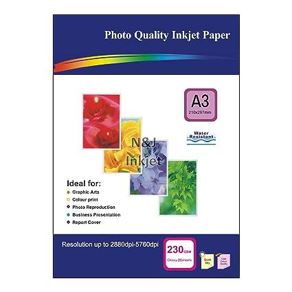 20 hojas de 230 G/m², A3 una sola cara papel fotográfico ...