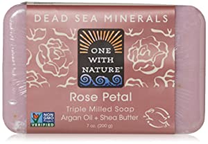 One With Nature Dead Sea Mineral Rose Petal Soap 7 oz