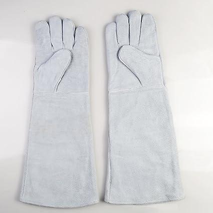 Super PDR blanco grande piel de vaca Split soldadura guantes ala pulgar totalmente, piel)