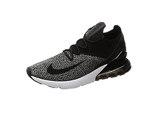 NIKE Air Max 270 Flyknit, Sneakers Basses Homme, Noir Black/White 001,