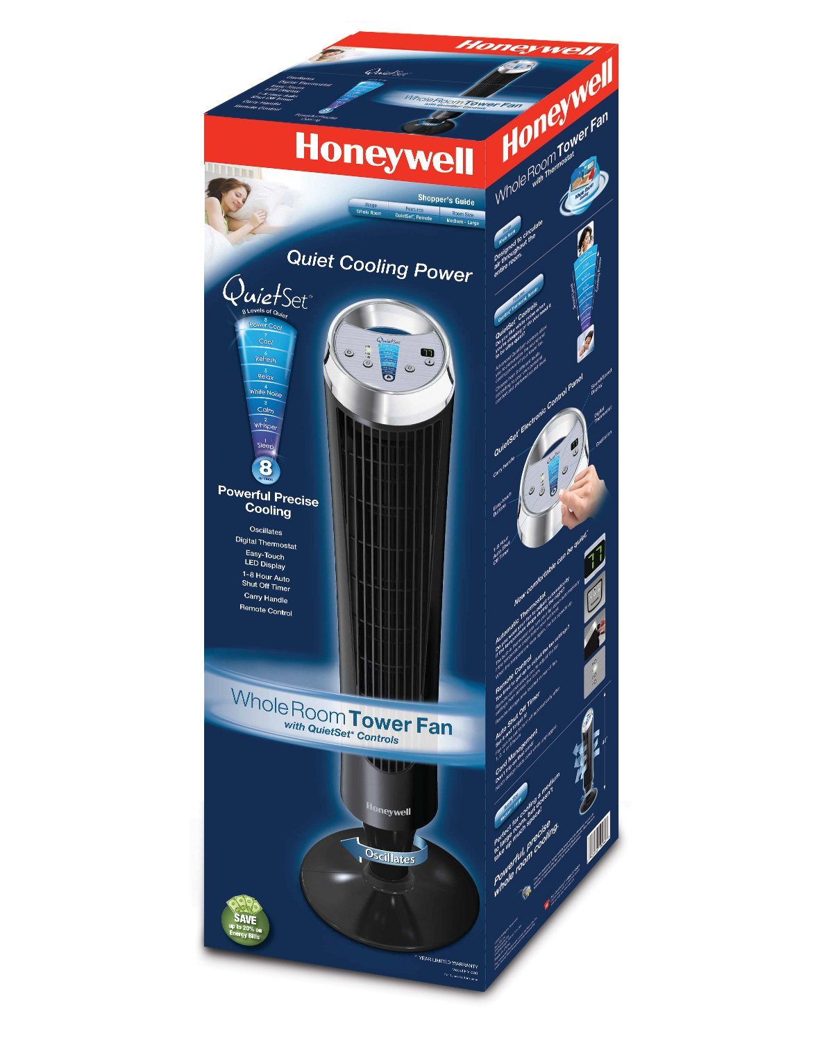 Amazoncom Honeywell HY280 QuietSet Whole Room Tower Fan Home
