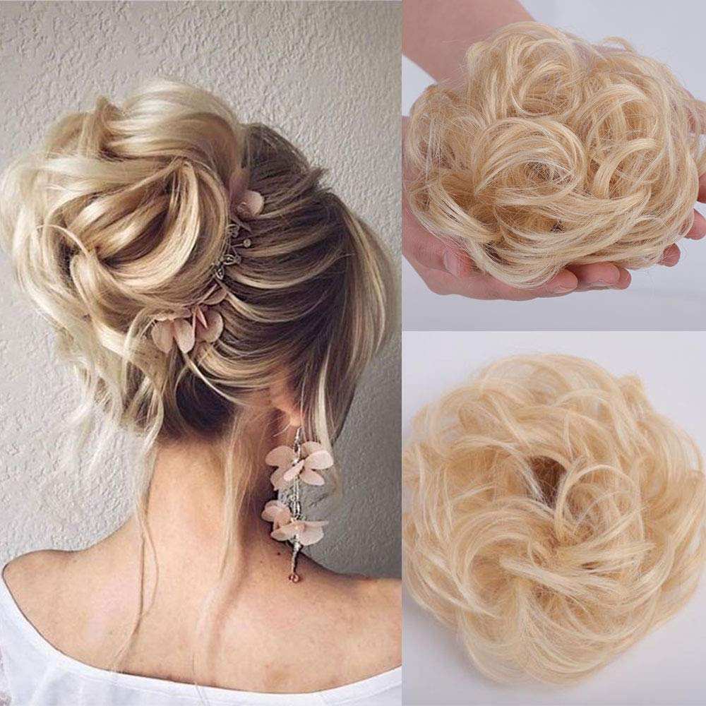Stamped Glorious 2 PCS Real Human Bun Extensions Hair Pieces for Women Wedding Messy Hair Scrunchies Chignon Hairpiece Natural Hair for Women Kids Donut Updo Ponytail Hair Chignons (613#) by Stamped Glorious