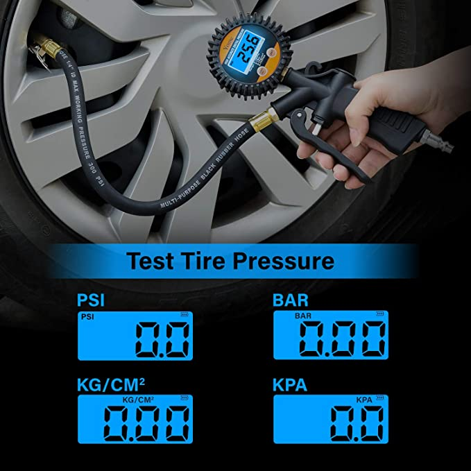 Psi Tire Pressure >> Yome Digital Tire Pressure Gauge 100 Psi Air Chuck And Compressor Accessories Heavy Duty With Rubber Hose And Quick Connect Coupler For Air