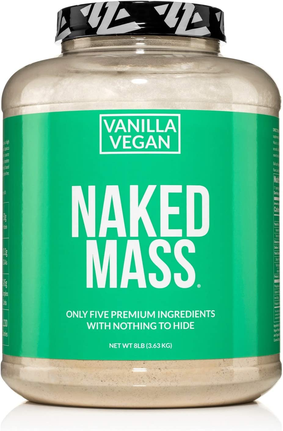 Naked Mass - Vanilla Vegan Weight Gainer - 8lb Bulk, GMO Free, Gluten Free, Soy Free & Dairy Free. No Artificial Ingredients – 1,230 Calories – 11 Servings: Health & Personal Care