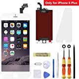 iPhone 6 Plus Screen Replacement White,Goldwangwang 5.5inch LCD Touch Screen Digitizer Replacement Fully Frame Display Assembly Set with Repair tool kit + Tempered Glass Screen Protector + Instruction