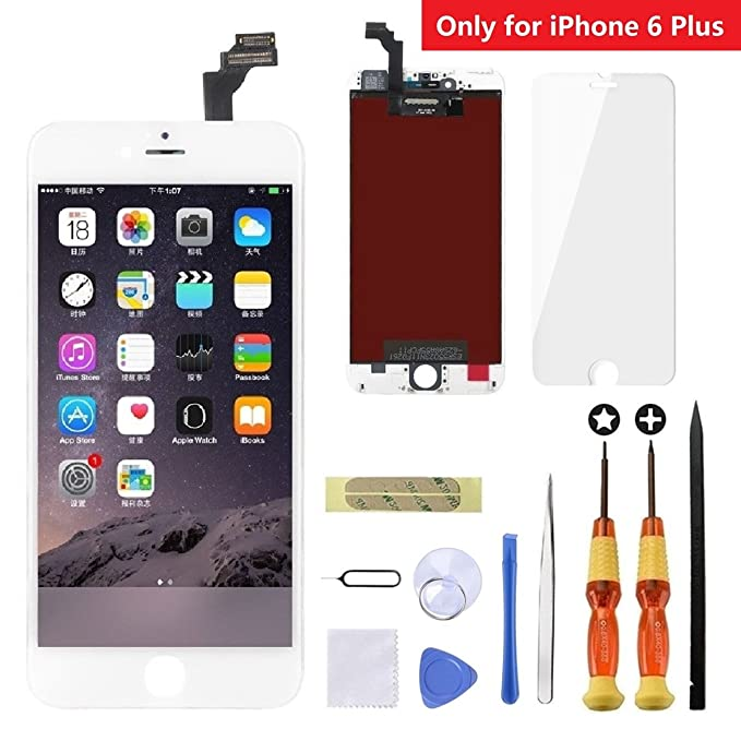 buy online cf6d1 ffcb6 iPhone 6 Plus Screen Replacement White,Goldwangwang 5.5inch LCD Touch  Screen Digitizer Replacement Fully Frame Display Assembly Set with Repair  tool ...