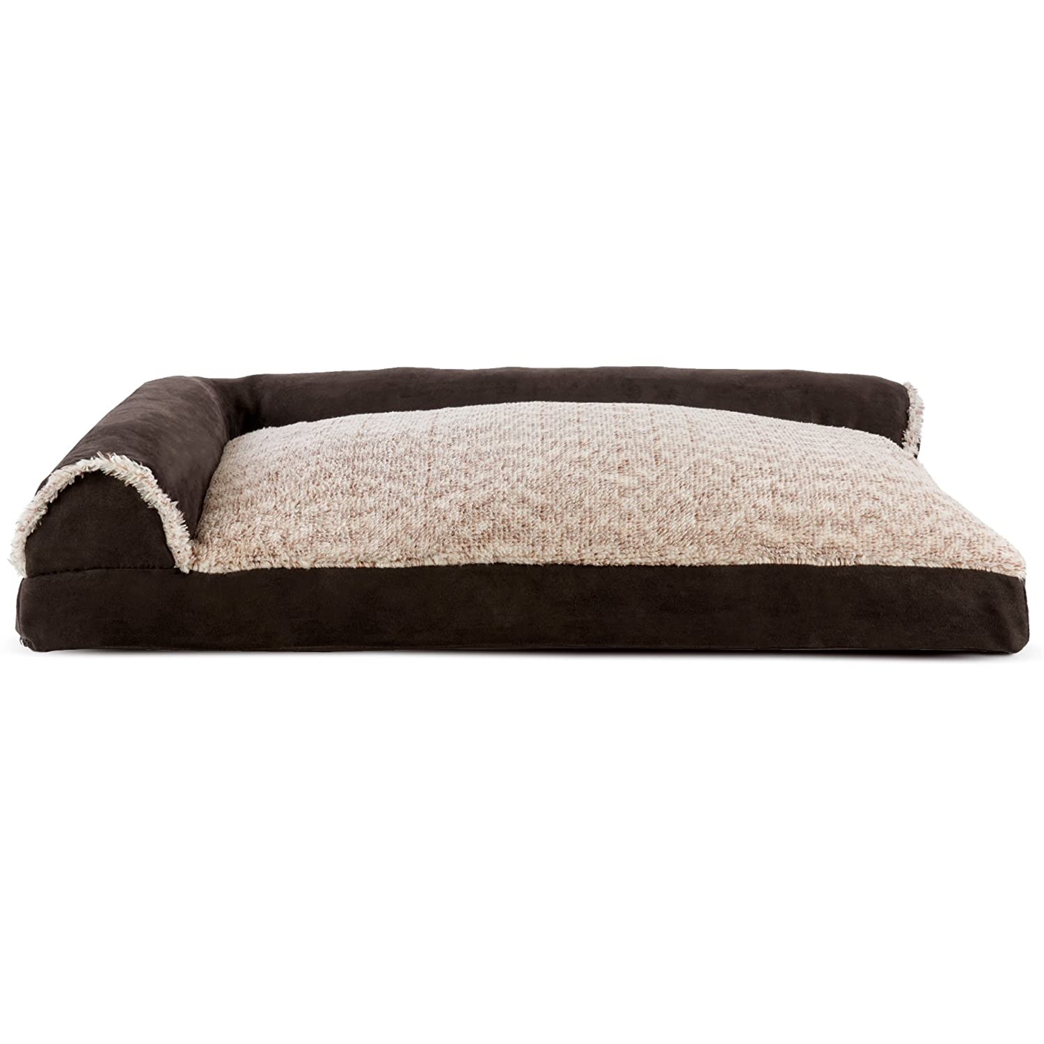 Furhaven Pet Dog Bed   Faux Fur & Suede L-Shaped Chaise Lounge Pillow Sofa-Style Pet Bed for Dogs & Cats, Espresso, Large