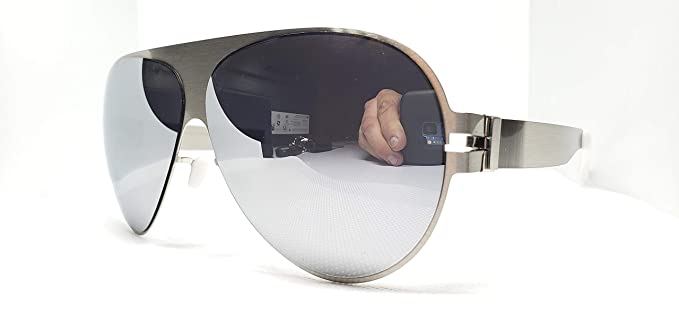 7ff05ab4b4f5 Amazon.com: Mykita Bernhard Willhelm Franz Frame Silver Lens Silver  Sunglasses Germany: Clothing