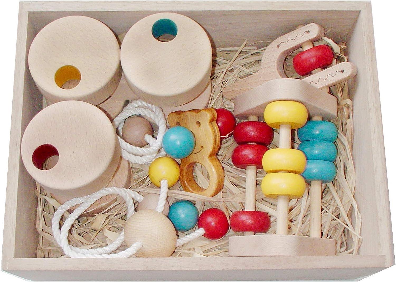 ●赤ちゃんのおもちゃ箱セット(Dタイプ)木のおもちゃ 3ヶ月 4ヶ月 5ヶ月 6ヶ月 1歳 2歳 ~出産祝いにお薦め♪ 木育