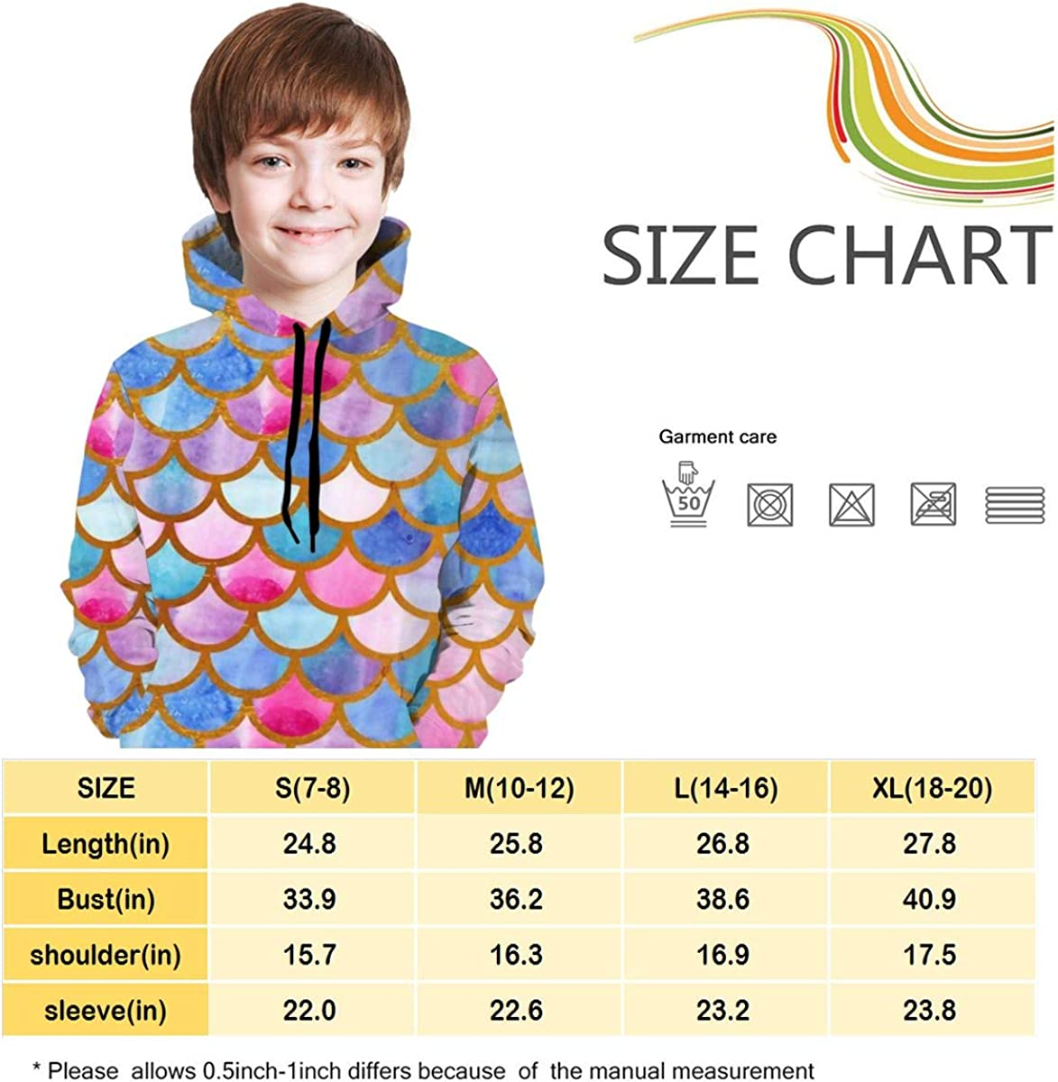 Watercolor Mermaid Scales Teens Hoody Sweater Pullover Drawstring Pocket Soft Coat for Boys