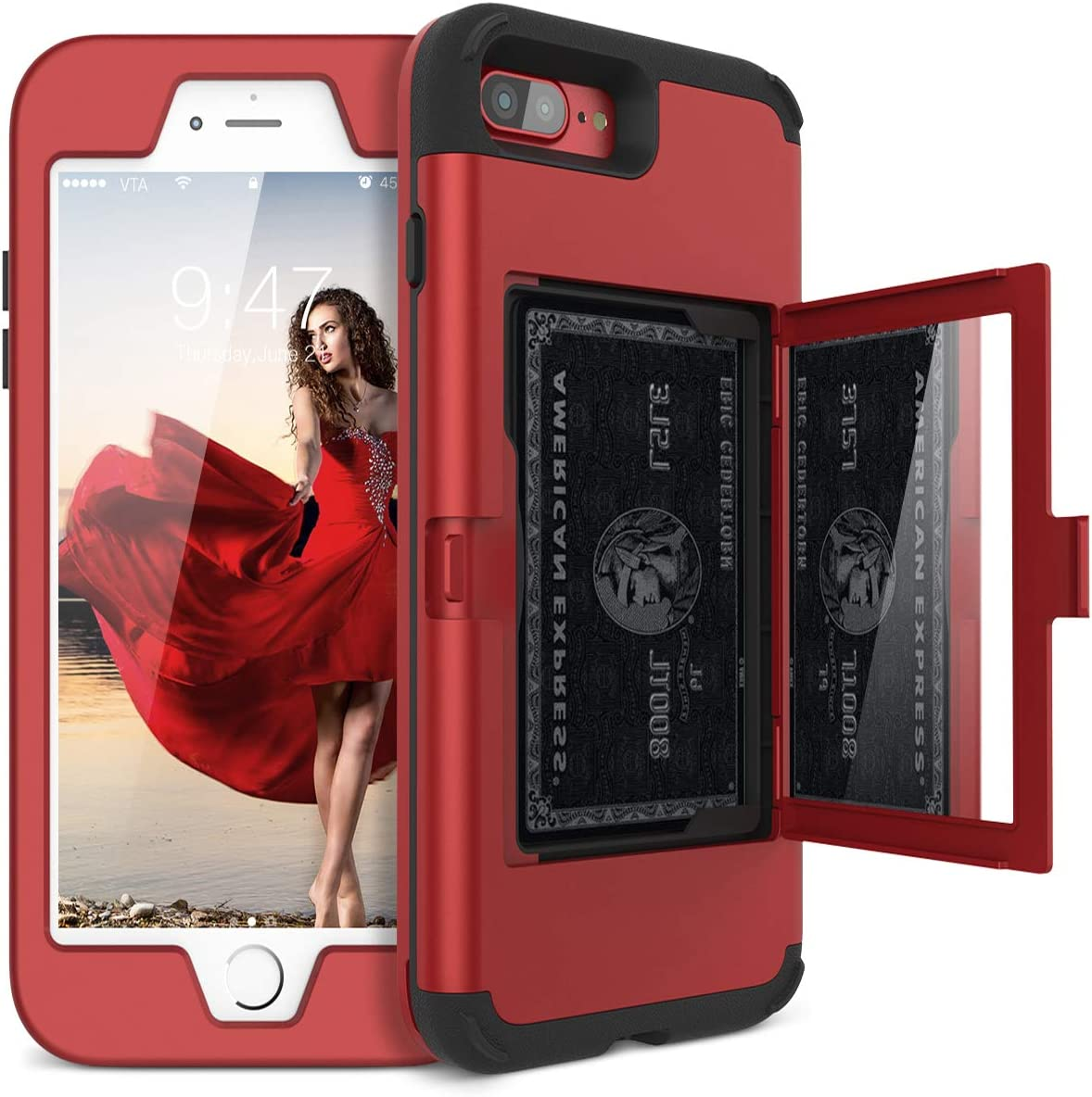 iPhone 8 Plus / 7 Plus Wallet Case - WeLoveCase Defender Wallet Design with Hidden Back Mirror and Card Holder Heavy Duty Hybrid Shockproof Armor Full Protective Case for iPhone 8 Plus/7 Plus - Red