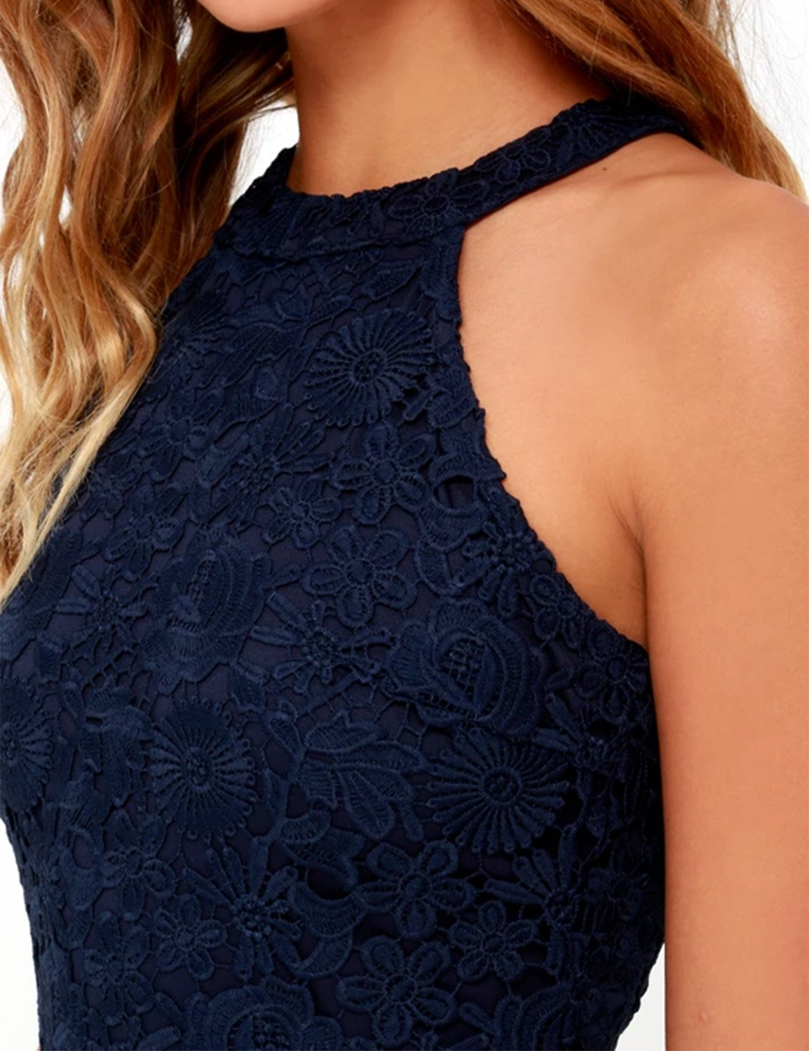 Lamilus Women's Casual Sleeveless Halter Neck Party Lace Mini Dress,Navy Blue,Small by Lamilus (Image #4)