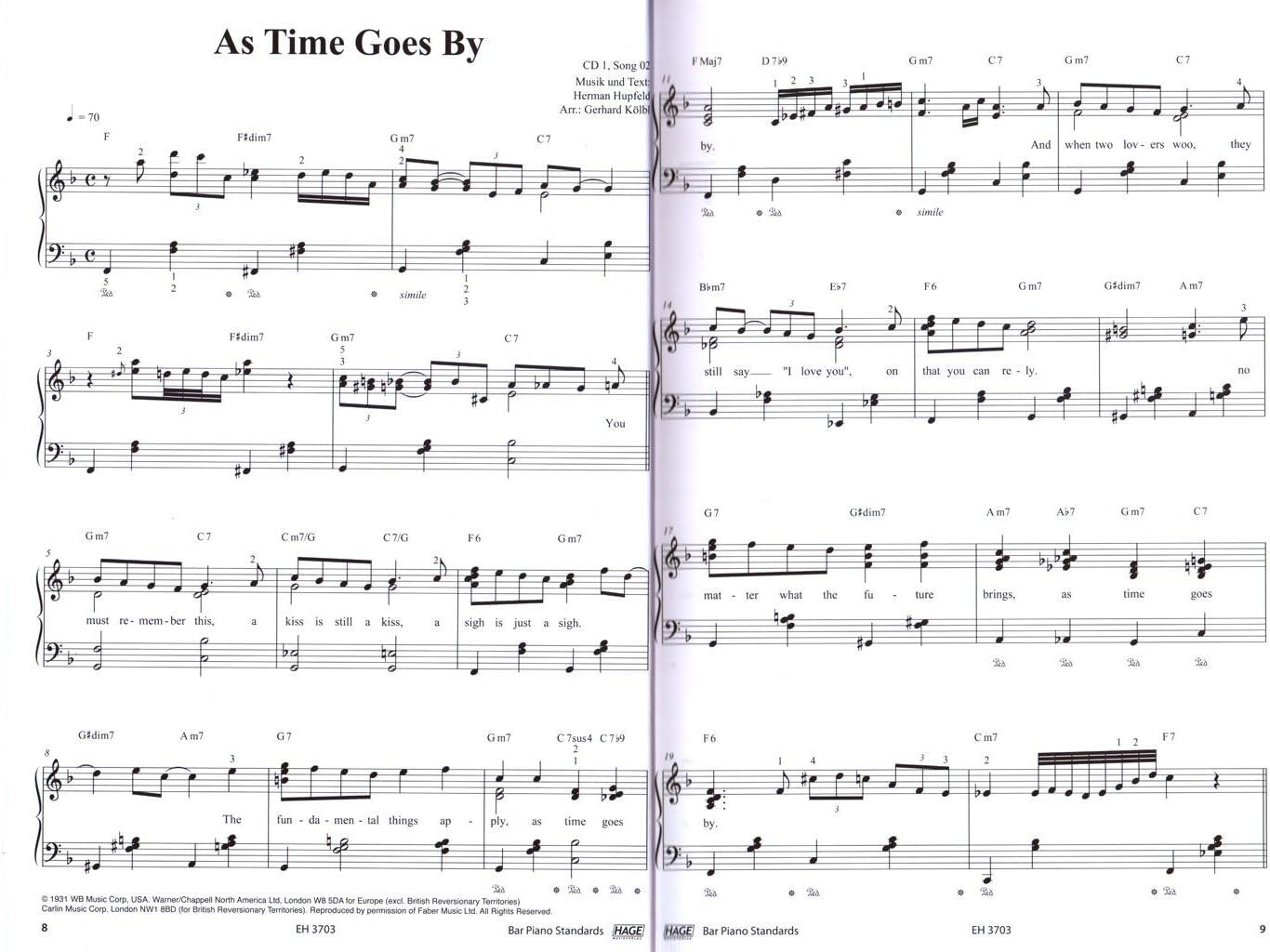Bar Piano normes – 40 Chansons Pour Piano – Note livre de Gerhard ...