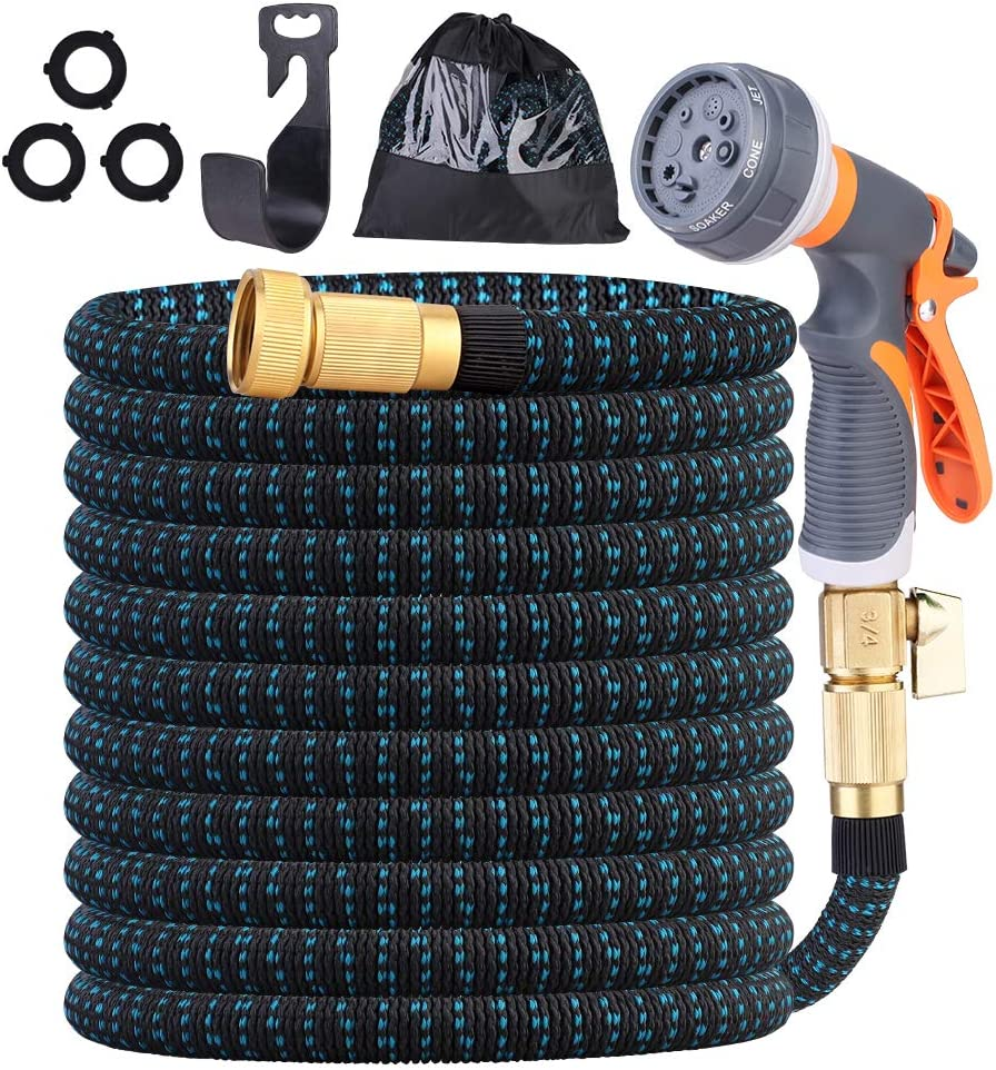 hairmiss 100FT Expandable Garden Hose with Triple Latex Core, 3/4