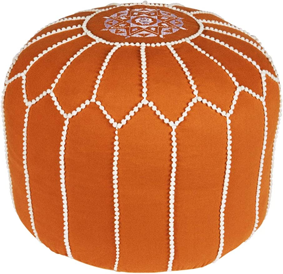 Asiento Redondo Pouf en algodón Chems Marrón ø 45cm Sin relleno | Cojín de asiento Cojín de suelo Cojines Orientales | Taburete de asiento Taburete de pie bordado como decoración oriental: Amazon.es:
