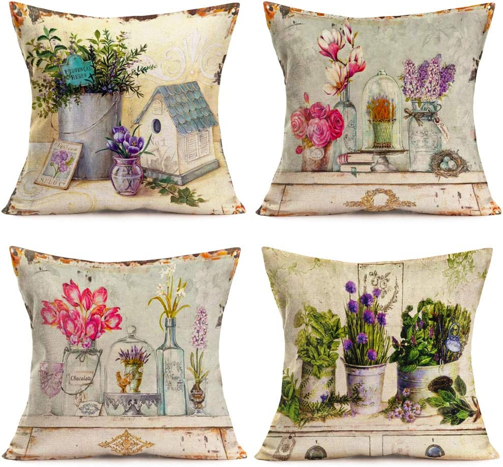 "18/"" Vintage Flower Linen Waist Throw Pillow Case Home Sofa Decor Cushion Cover"