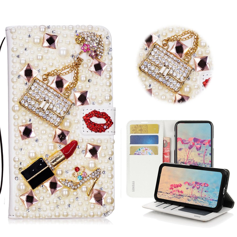 STENES Galaxy J3 Prime Case, Galaxy J3 Emerge Case - STYLISH - 3D Handmade Bling Crystal Girls Bags Lipstick High Heel Wallet Credit Card Slots Fold Stand Leather Cover Case - Red