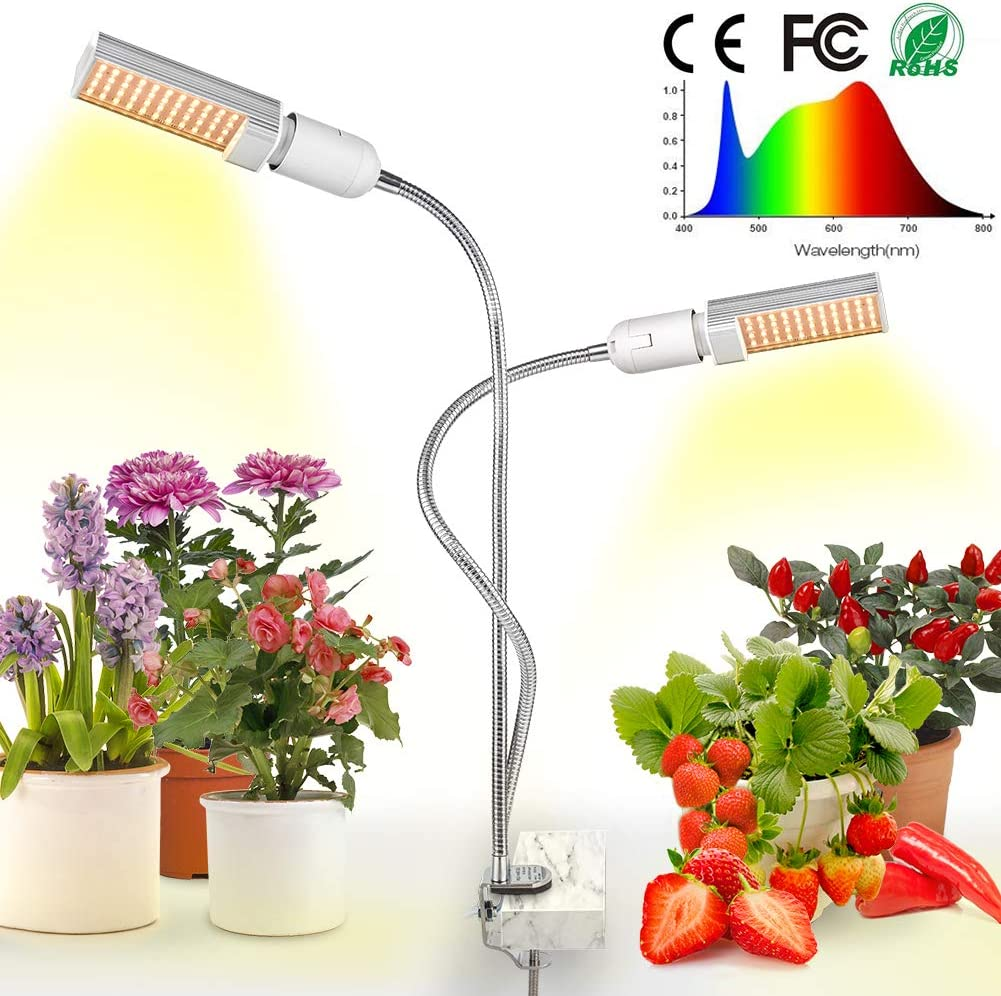 Relassy Sunlike Full Spectrum Dual Head Gooseneck Grow Lamp