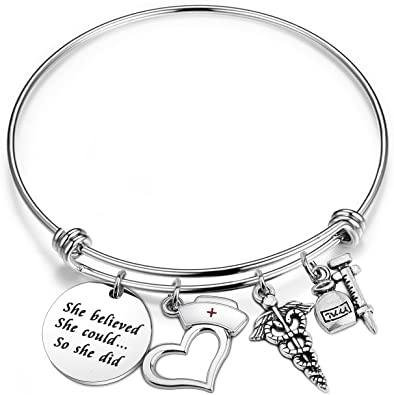 Graduation Gift Expandable Wire so she did She believed she could Motivational Message. Hand Stamped Bracelet Graduation Bracelet