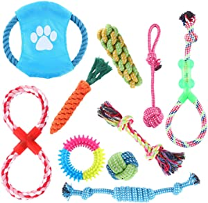 Homend Rope Toys Puppy Chew Toys Set of 10, Dog Cotton Rope Knot Toys and Dog Ball for Small Medium Large Breeds, Nature Teething Toy for Dental Health, Stress-Free Dog Training Gifts (Set of 10)