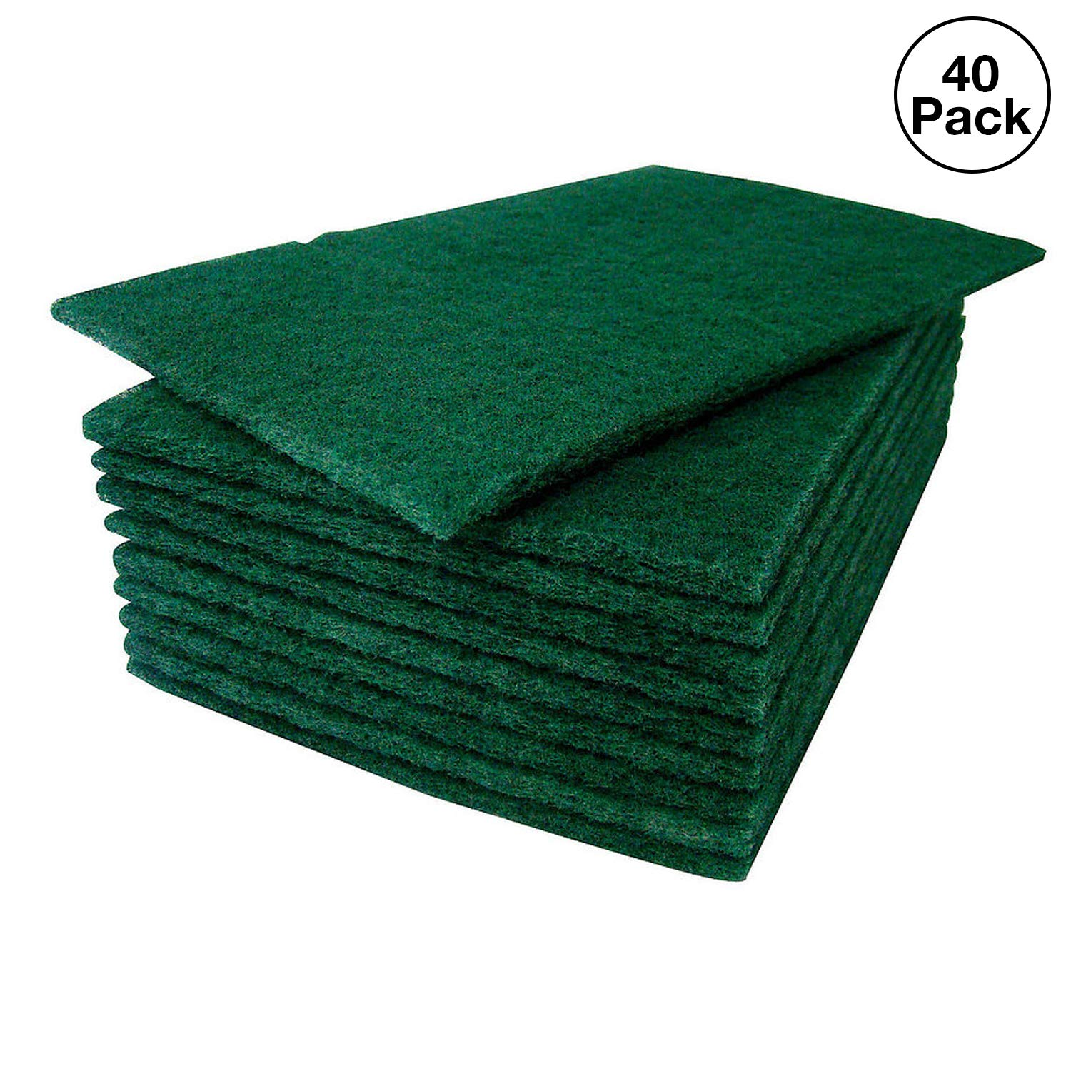 HeRO Dish Scrubber Scouring Pads - Household Scrub Pads for Stove Top Cleaner and Kitchen Scrubbers for Dishes, Cuts Solvents & Greasy Messes, Green 4.5 x 6 inch (Pack of 40)