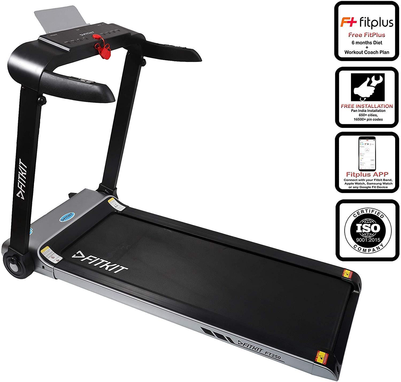 Fitkit FT250- 2.0 HP Motorized Steel Treadmill (Free