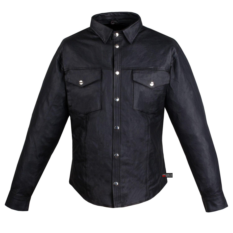 Men's Motorcycle Cowhide Leather Black Full Sleeves Poly Liner Shirt Black 3XL