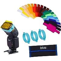 Selens SE-CG20 Universal Speedlite 20 Piezas con 3 Bandas de Gel, Flash Gels Filter Kit Juegos de Filtros de Geles…