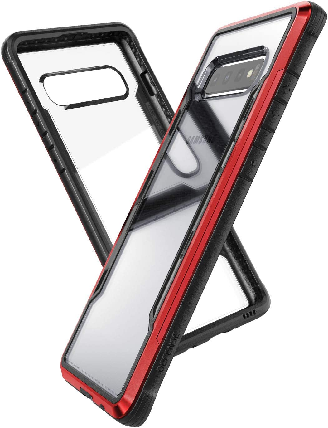 X-Doria Defense Shield, Samsung Galaxy S10 Phone Case - Military Grade Drop Tested, Anodized Aluminum, TPU, and Polycarbonate Protective Case for Samsung Galaxy S10 (Red)