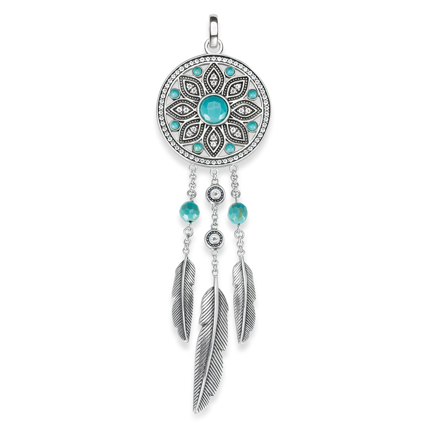 85dd2cb58 Thomas Sabo Women-Pendant Glam & Soul 925 Sterling Silver blackened  Zirconia white simulated turquoise PE711-646-17: Amazon.co.uk: Jewellery
