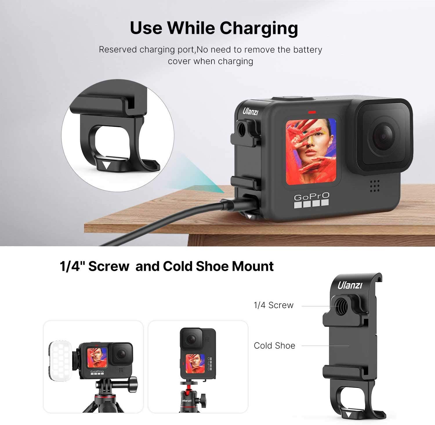 G9-6 Multifunction Battery Cover Door for GoPro HERO9 Black with Cold Shoe Mount /& Open Port for Camera Charging