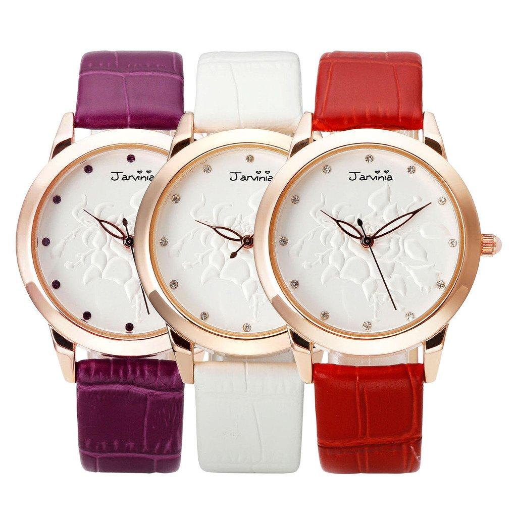 JSDDE Uhren,Fashion Damen-Armbanduhr Relief Rose Blume Zifferblatt Armbanduhr mit Strass Annalog Quarzuhr,Violett