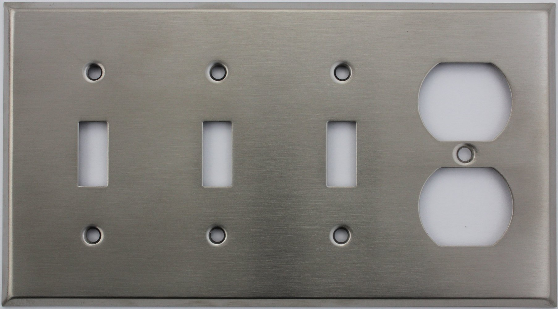 Brushed Satin Stainless Steel 4 Gang Wall Plate - 3 Toggle Switch 1 Duplex Outlet