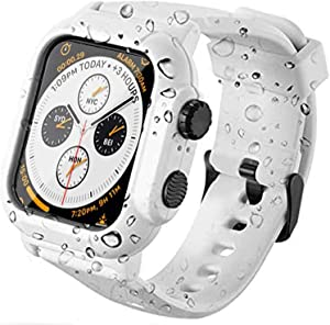 PEIYUI Waterproof Case for 44mm Apple Watch Series 6 and Series 5 Series 4 SE, Full Body Shell for Waterproof Dustproof Snowproof Anti-Scratch Shockproof Impact Resistant with Watch Band (White, 44mm)