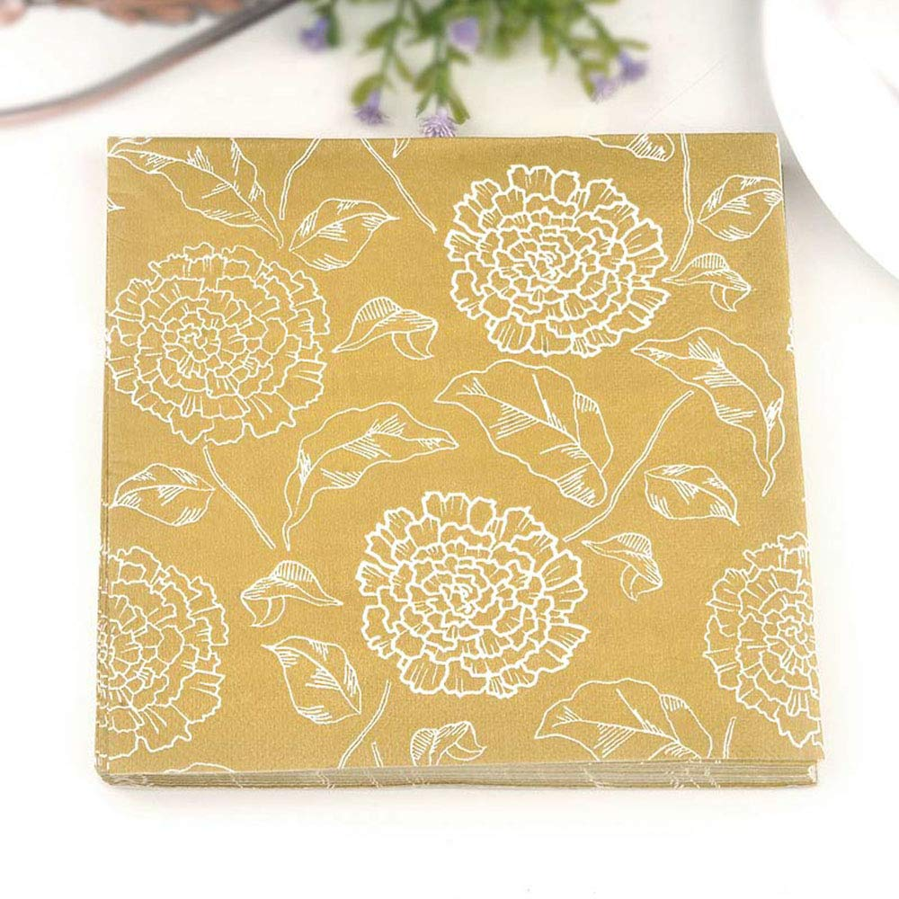 Floral Napkin Paper Tissue Golden Printed Floral Decoupage Hotel Party Weeding Festive Decorative Flourish Patterned Cup Mat Black