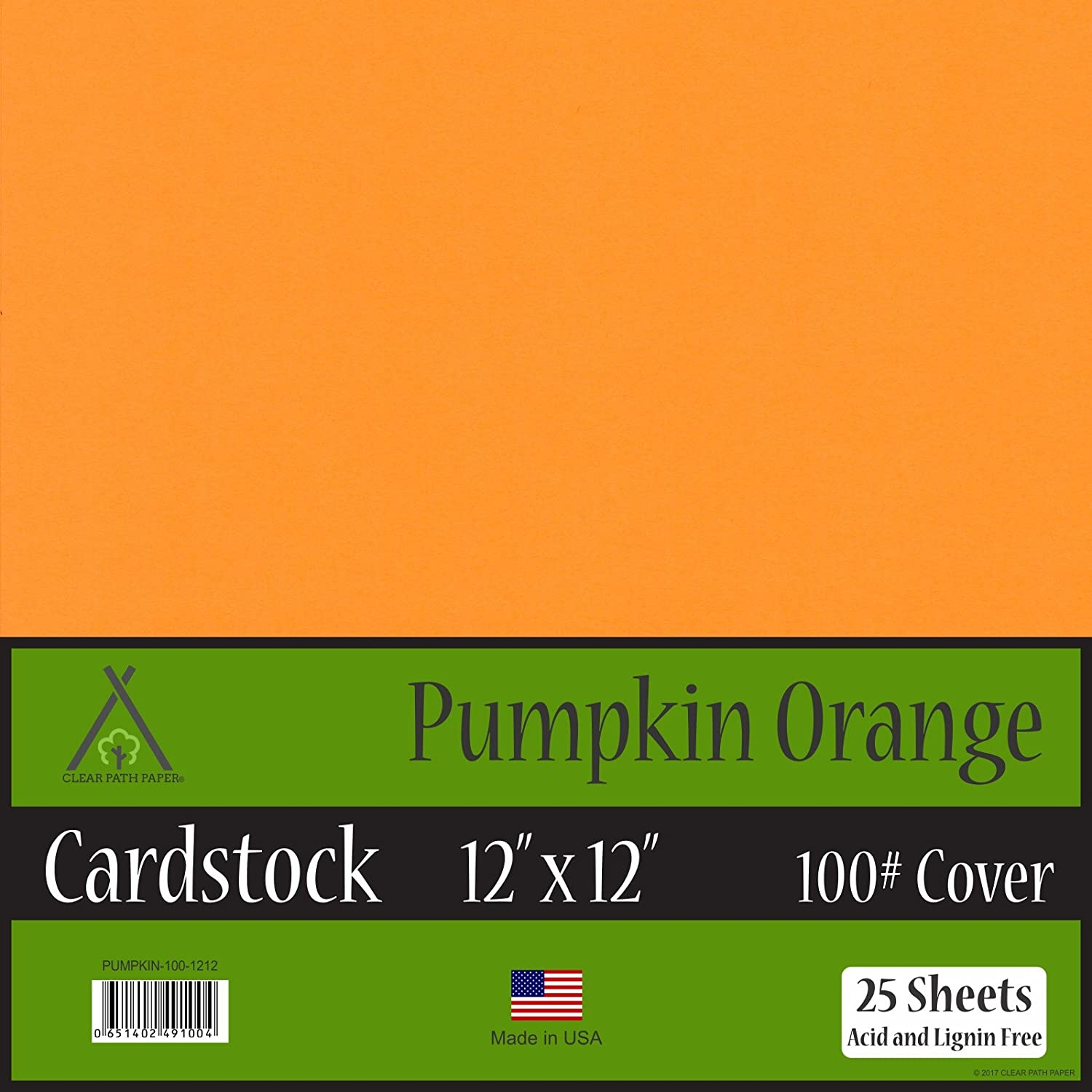 Pumpkin Orange Cardstock - 12 x 12 inch - 100Lb Cover - 25 Sheets Clear Path Paper