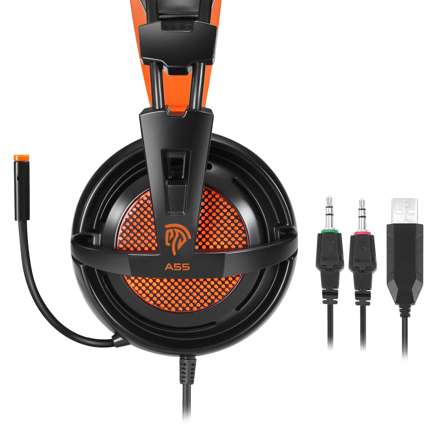 PC Gaming Headset, EasySMX Over-ear Wired Stereo Lightweight Gaming Headset 3.5mm Jack LED Indicator Adjustable Mic and In-line Controller One-key Mute for PC Tablet MP3 MP4 SONY and iPhone 6/7 etc.