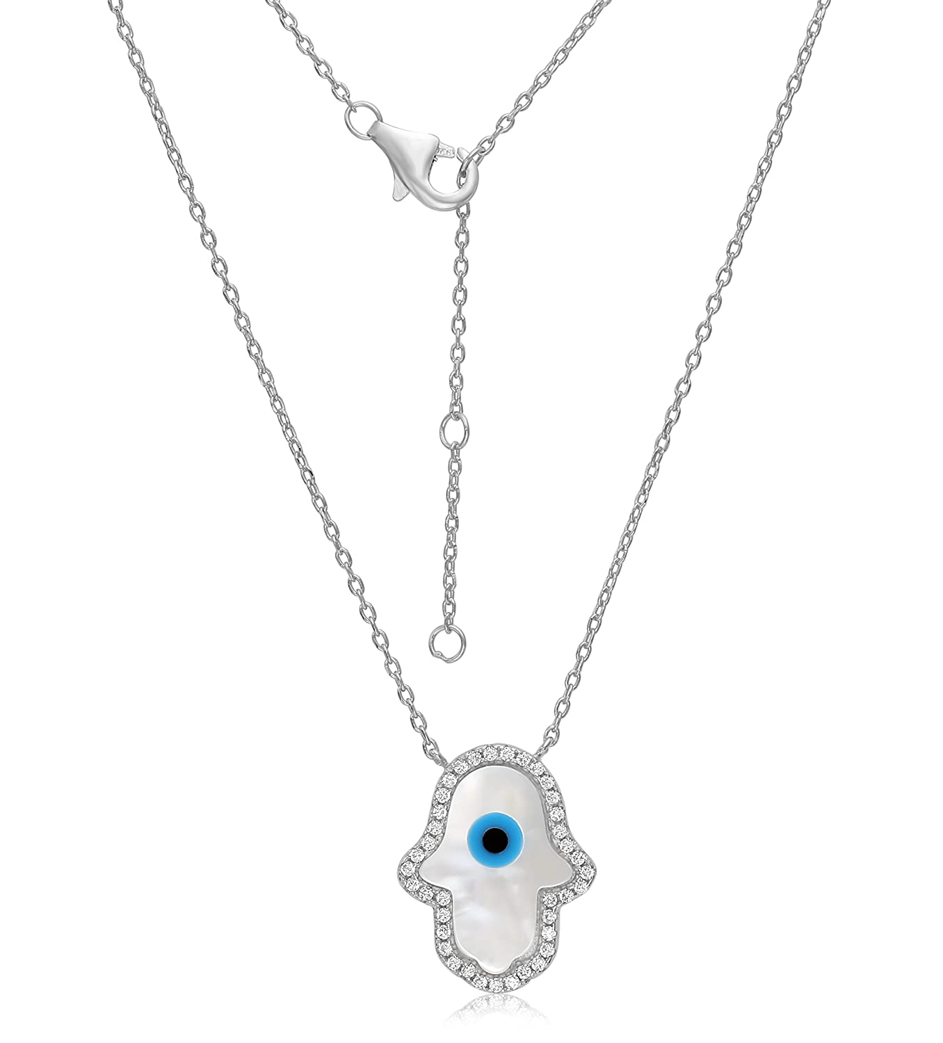 Unique Royal Jewelry Hamsa Hand Sterling Silver Cubic Zirconia Evil Eye Necklace – Platinum Plated – Expands from 16 -18