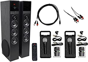 Rockville All -in-one Bluetooth Home Theater/Karaoke Machine System w/(2) Mics