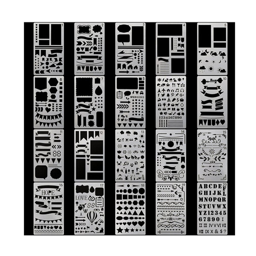 Lalang 20 Pcs Journal Stencil Set Plastic Template DIY Drawing Planner Accessories for Diary Scrapbook Craft Notebook 88_Store