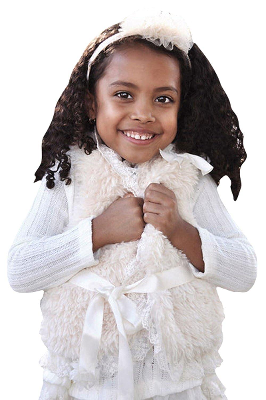 MaeLi Rose Ivory Fluffy Lace Vest