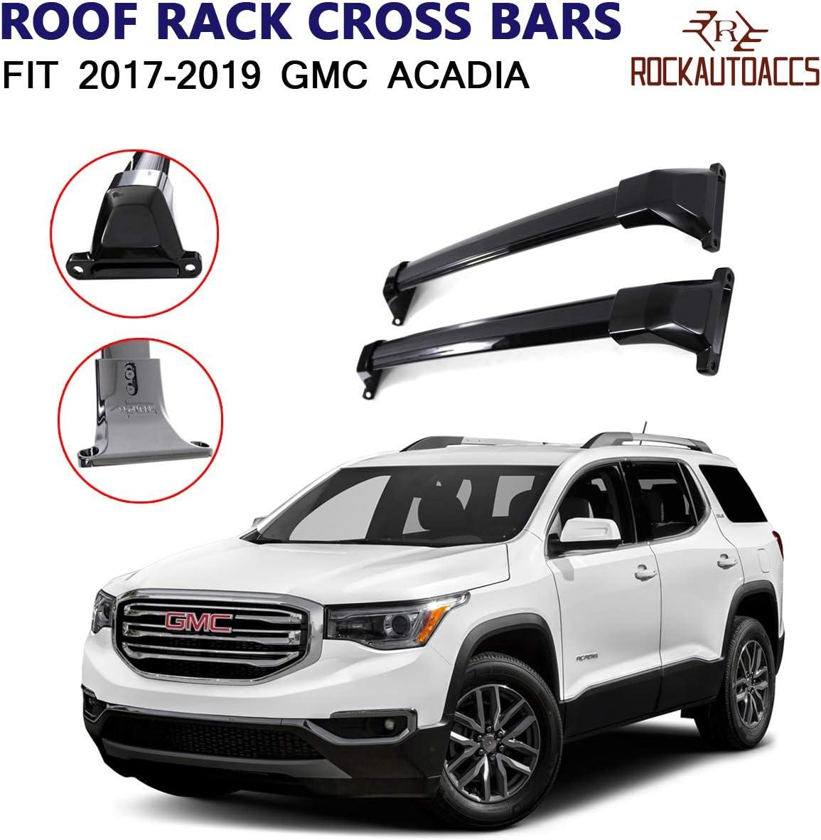 ROKIOTOEX Roof Rack Crossbars Roof Rail Cross Bars Fit 2017 2018 2019 GMC Acadia Side Rails Rooftop Cargo Bag Holder Luggage Kayak Carrier Aluminum Black