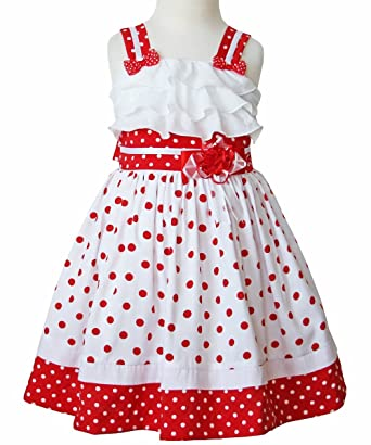 4866fdb3ec1 Carouselwear Minnie White With Red Polka Dot Spring Summer Ruffles Girls  Dress.
