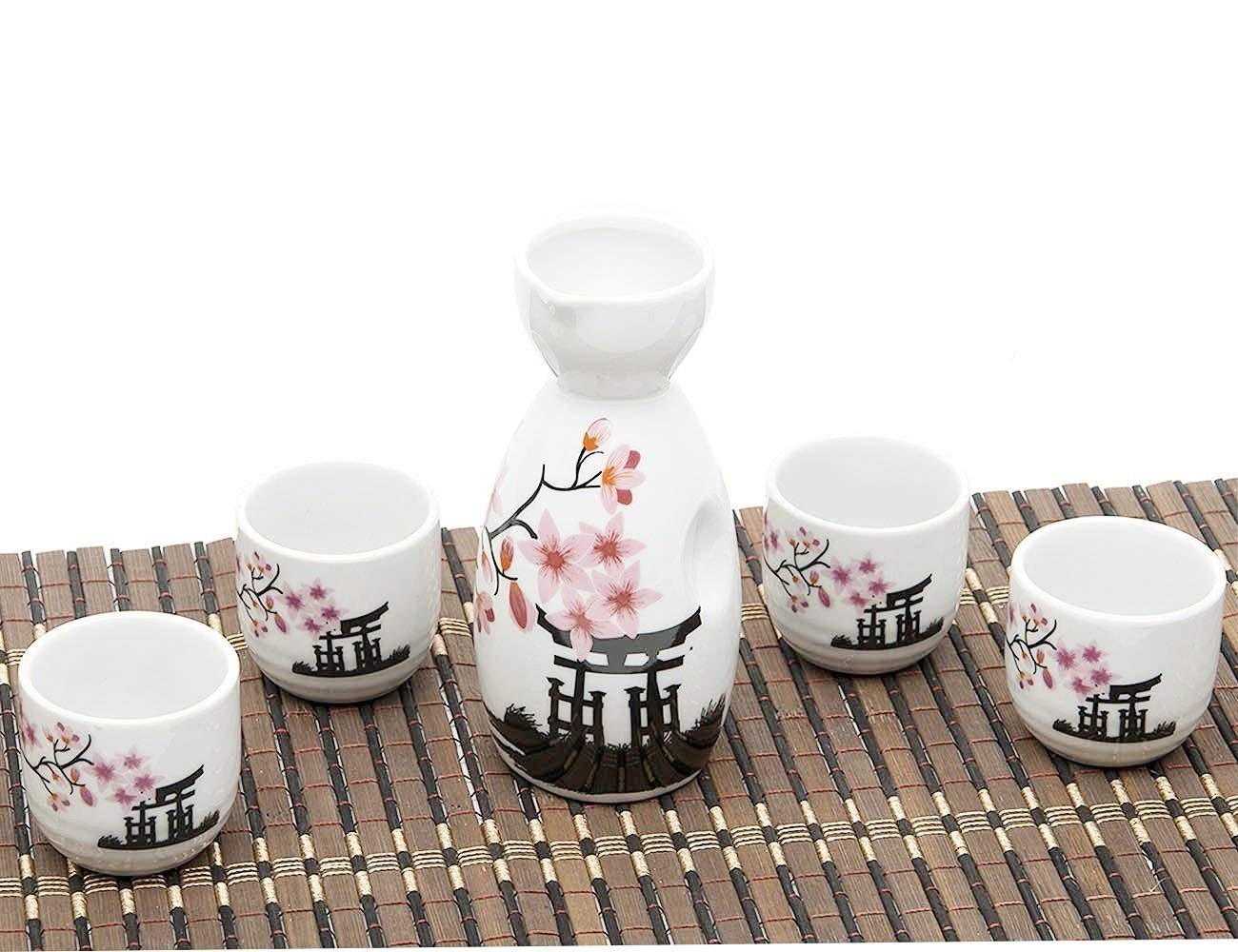 5 Piece Japanese Sake Cup Set Hand Painted Cherry Blossoms Flower Design Porcelain Pottery Traditional Ceramic Cups Crafts Wine Glasses