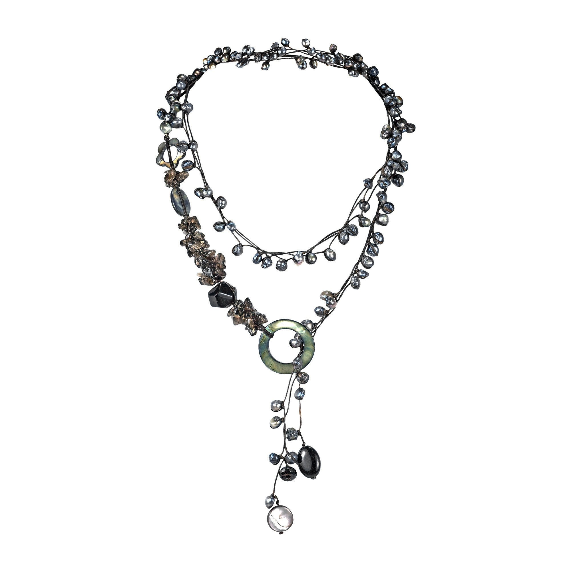 AeraVida Midnight Cultured FW Black Pearls-Reconstructed Black Agate-MOP On Cotton Rope Wrap Necklace by AeraVida