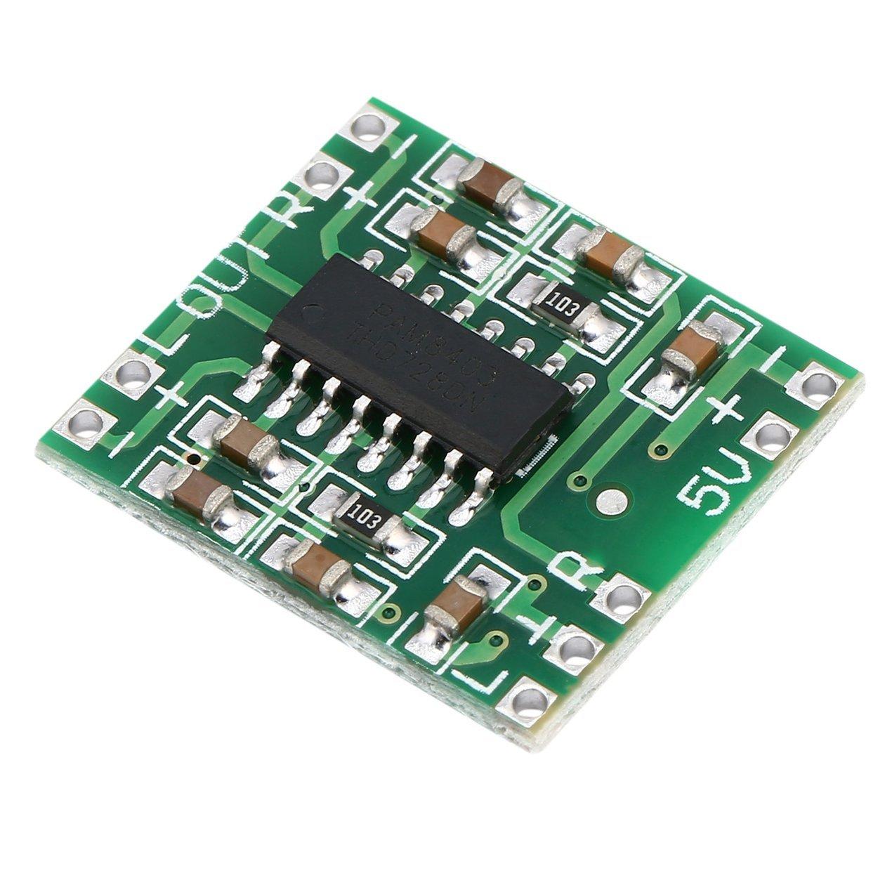 Color: Verde 2 Canales 3W Digital Power PAM8403 Tablero Amplificador de Audio de Clase D USB DC 5V Mini Tablero Amplificador Digital de Clase D LCD